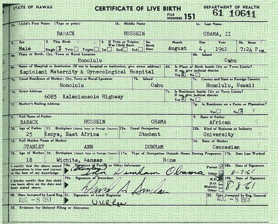 Fake News: Kenya: Authorities Did NOT Release Barack Obama's 'Real' Birth Certificate