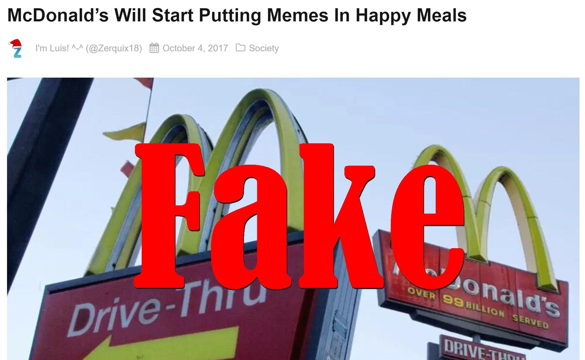 Fake News: McDonald's Will NOT Start Putting Memes In Happy Meals