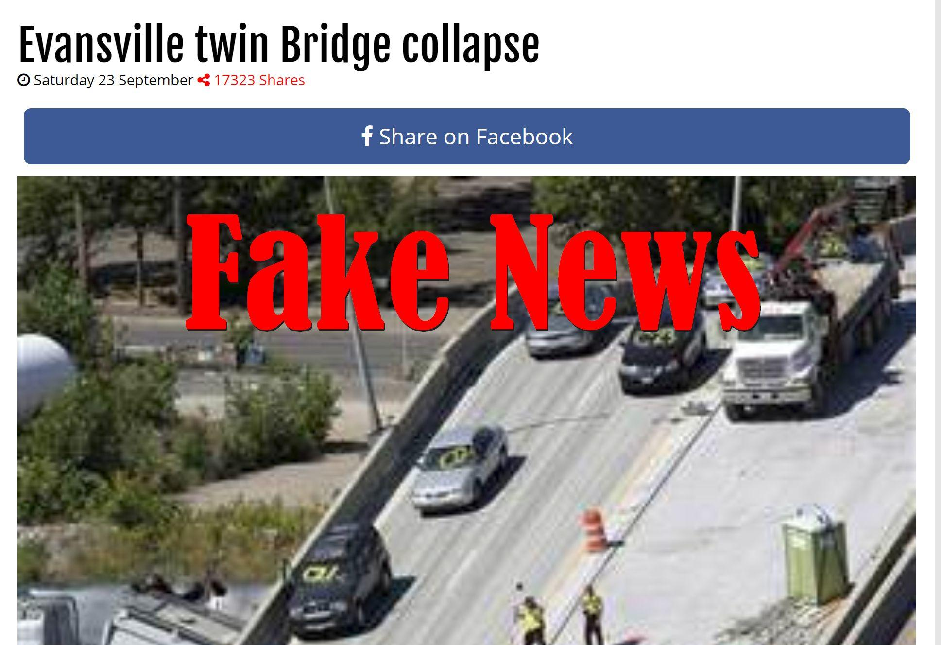 Fake News: Evansville Twin Bridge Did NOT Collapse