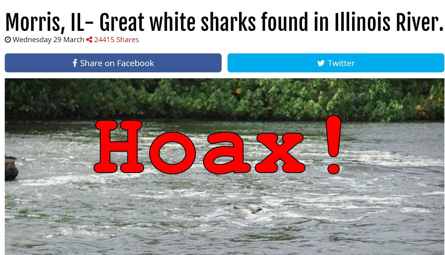 Fake News: Great white Sharks NOT Found In Illinois River