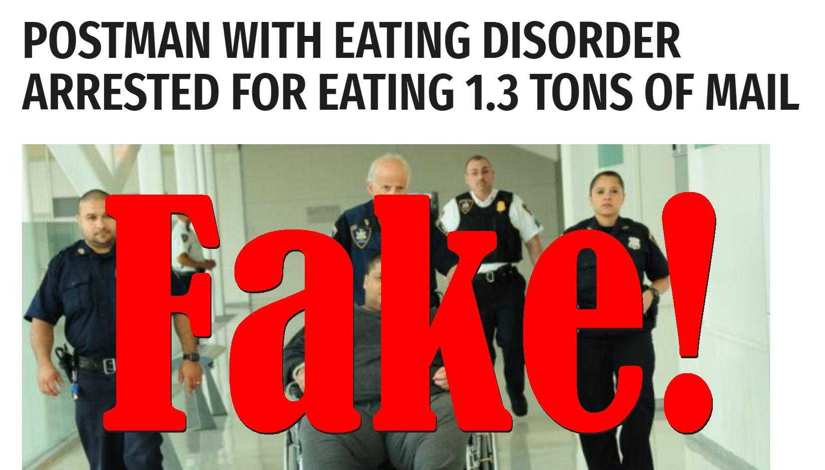 Fake News: NO Postman With Eating Disorder Arrested, Did NOT Eat 1.3 Tons of Mail