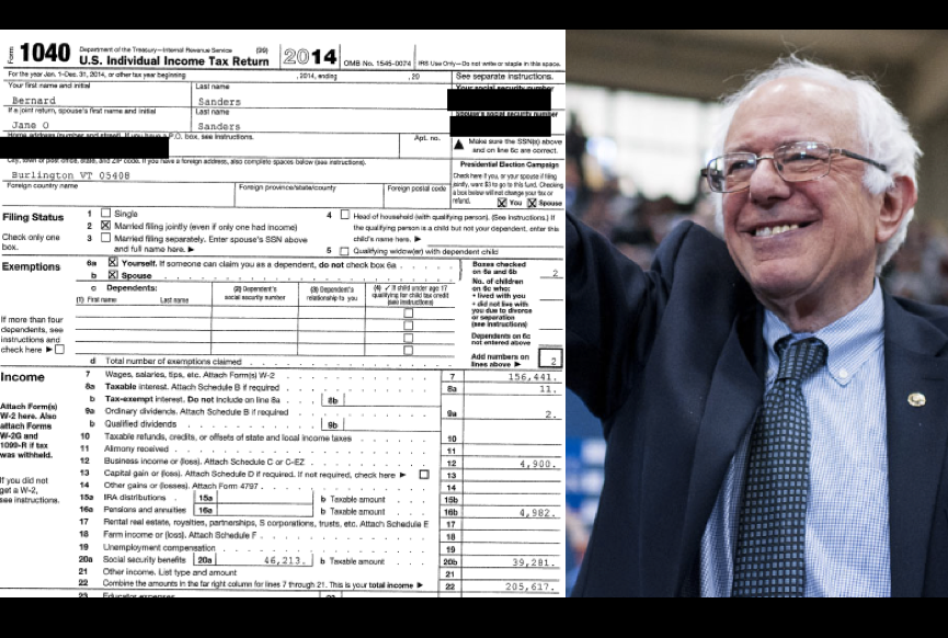 Taxing The Bern: Sanders Releases 2014 Federal Tax Return & It Is 'Boring'