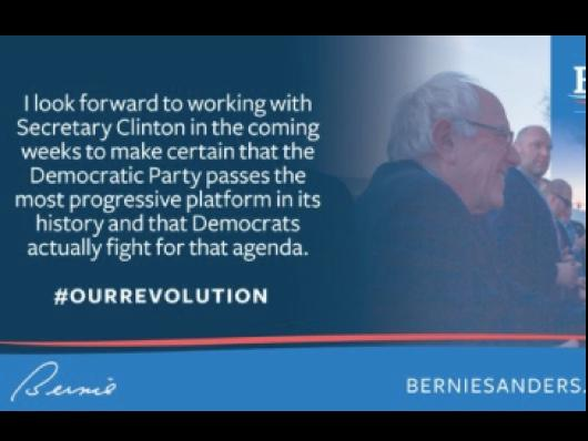 #OurRevolution Continues But Bernie Sanders Says 'I Look Forward to Working With Hillary Clinton'