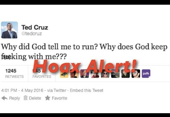 Hoax Alert: Ted Cruz DOES NOT Blame God For Defeat In Epic Twitter Meltdown