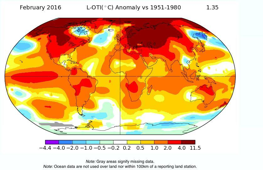 Still Not Buying Climate Change? February 2016 Was Hottest Ever Recorded