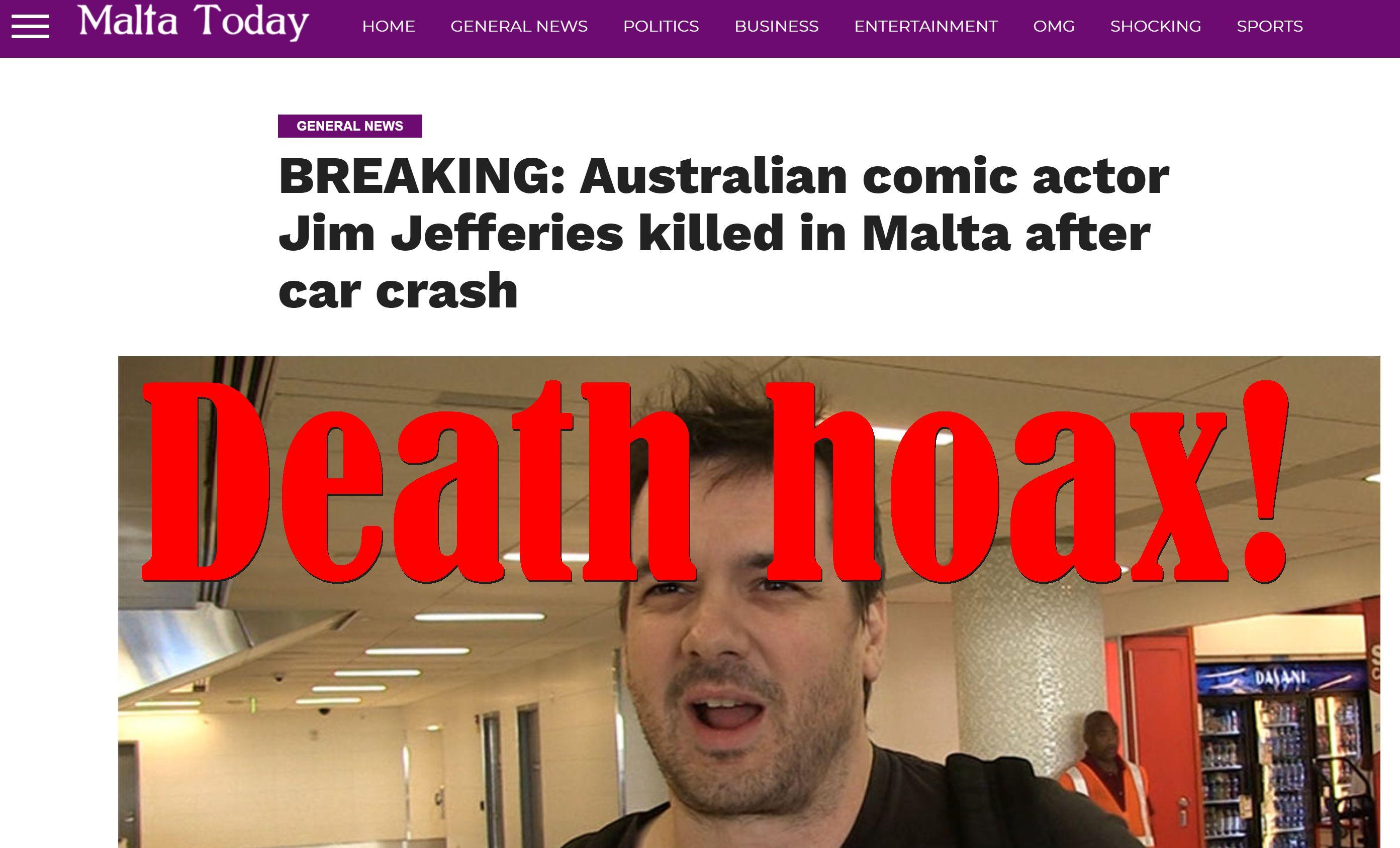 Fake News: Australian Comic Actor Jim Jefferies NOT Killed in Malta After Car Crash