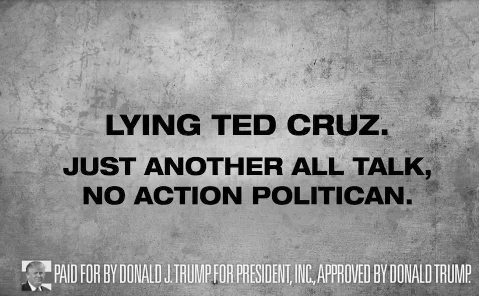 Donald Trump's Latest Attack Ad Targets 'Lying Ted' Cruz