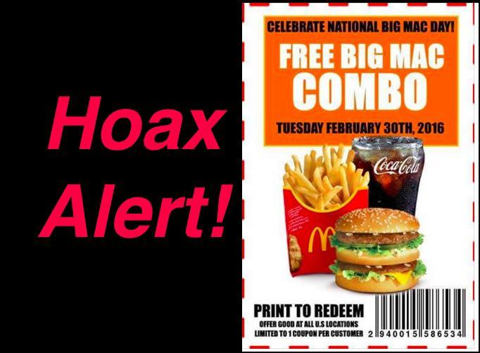 Fake Mcdonalds Coupon There Is No Free Big Mac Combo Or A February