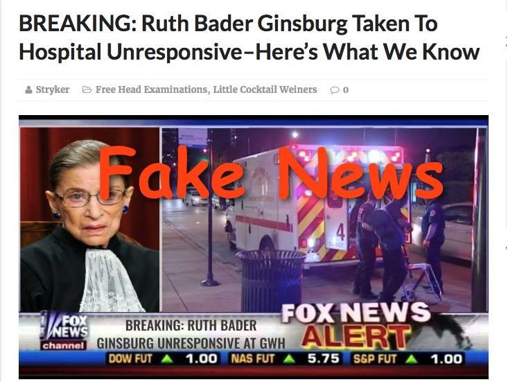 Fake News: Ruth Bader Ginsburg NOT Taken To Hospital Unresponsive