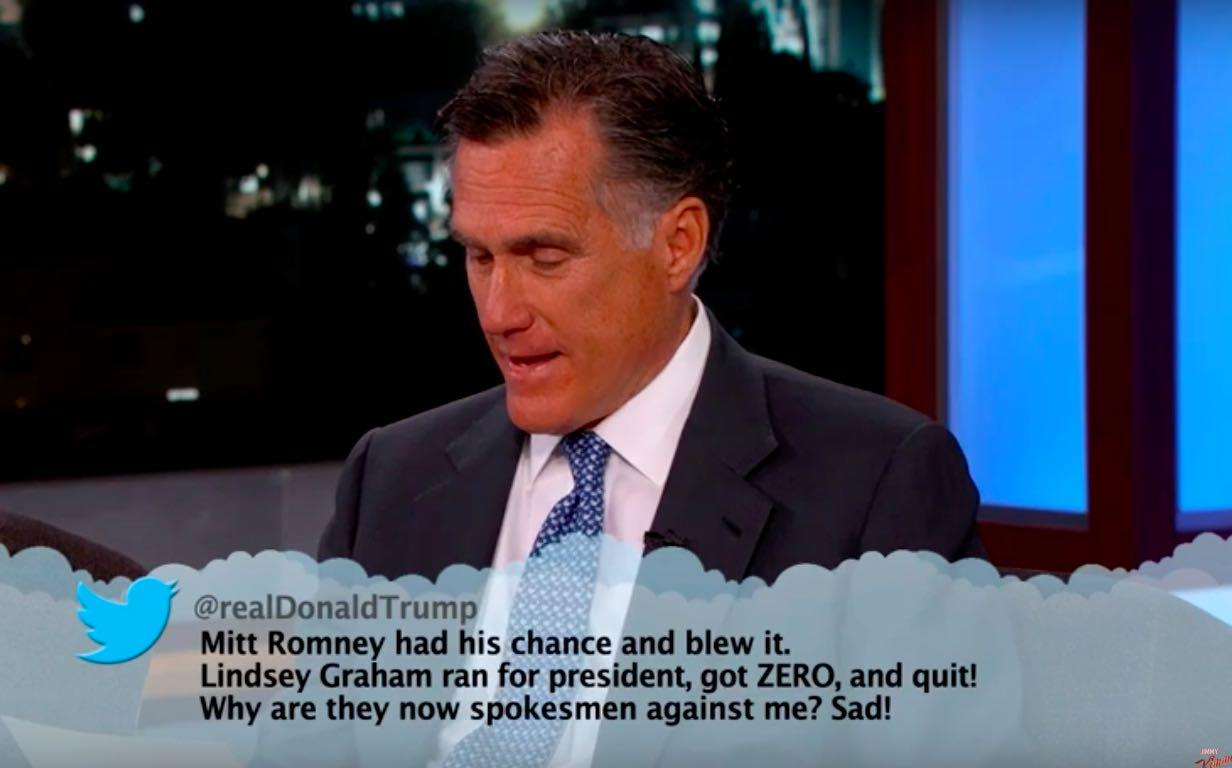 Mitt Romney Reads Mean Donald Trump Tweets For Jimmy Kimmel Live