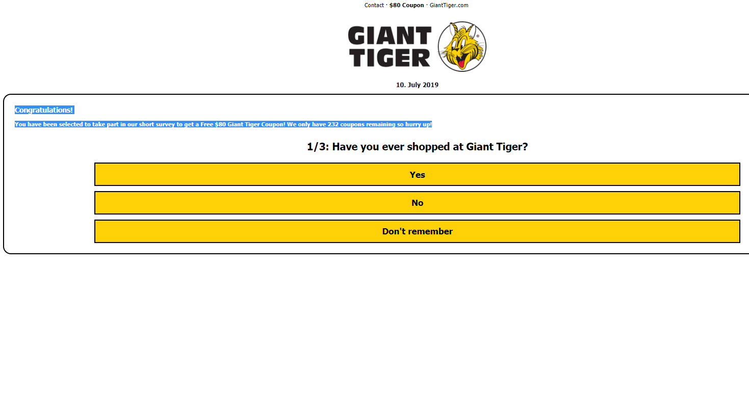 Fake News: Giant Tiger Is NOT Giving Free $80 Coupon Per Family To