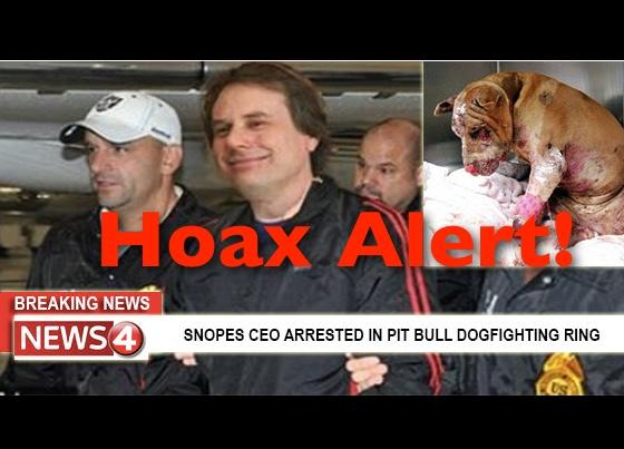 Hoax Alert: Snopes CEO NOT Busted In Pit Bull Fighting Ring: 45 Dogs NOT Rescued, 13 NOT Found Dead