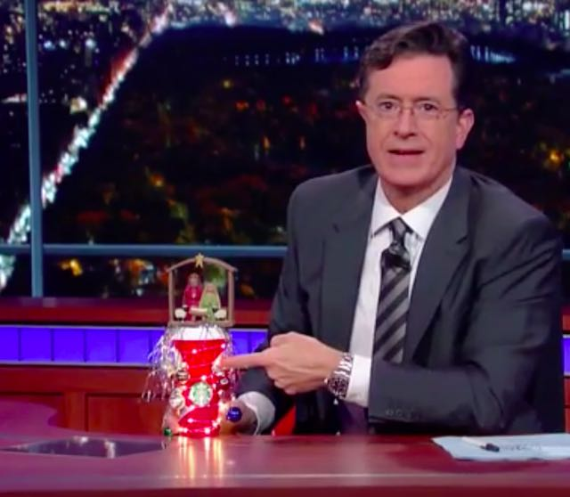 Stephen Colbert Combats Starbucks Red Holiday Cup: Puts 'The Christ Back In C(hrist)offee'