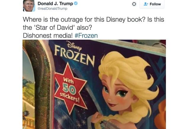 Donald Trump's 'Frozen' Outrage: Disney Uses 'Star Of David'  But He Can't?