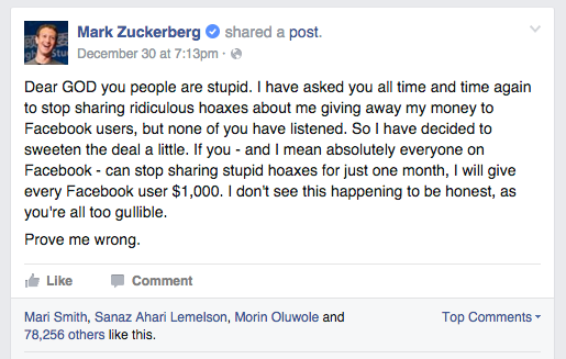 Satire Alert: Mark Zuckerberg Offers Facebook Users $1000 To Stop Sharing Hoaxes About Him Giving Away Money