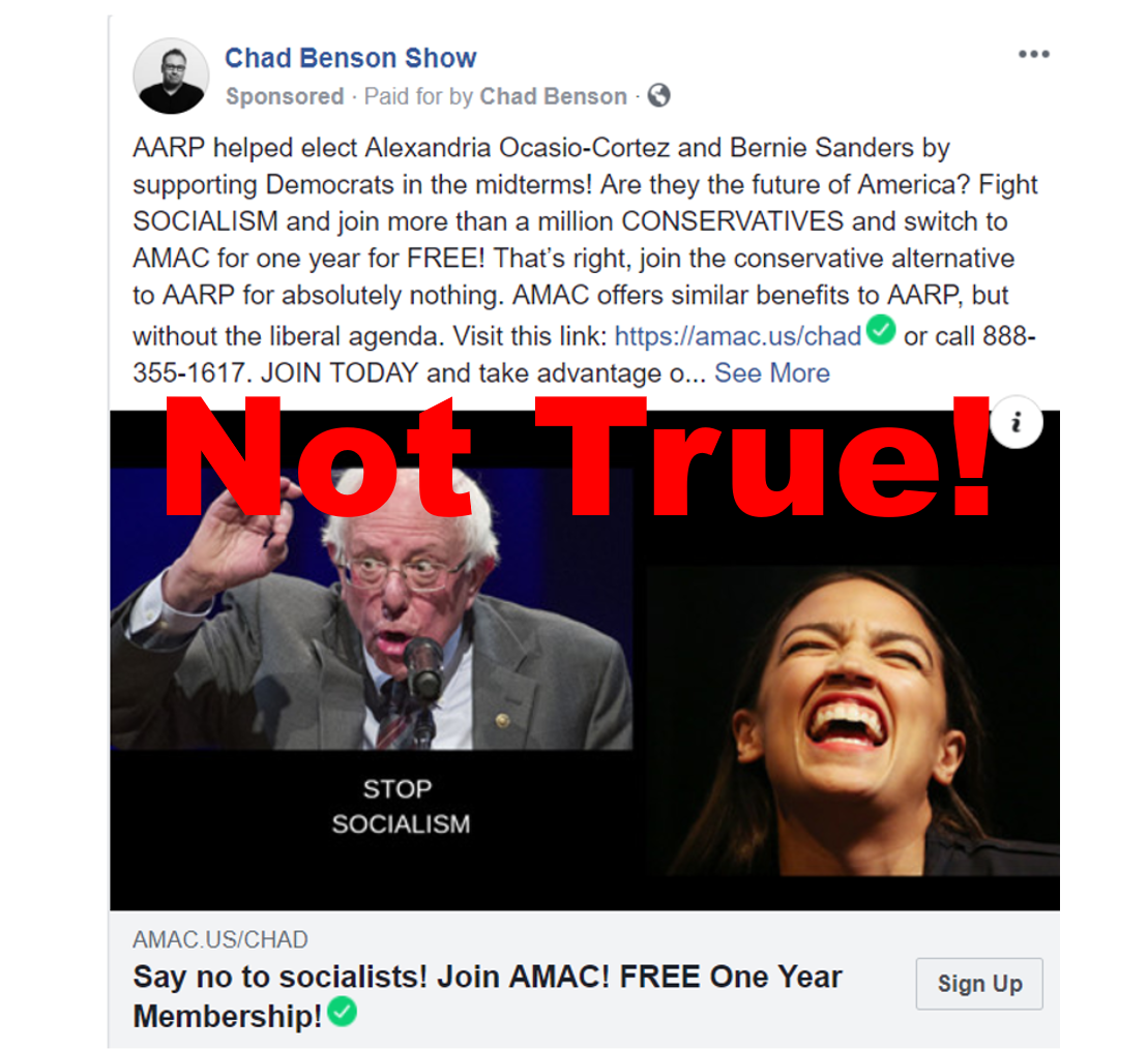 Amac Vs Aarp >> Fake News Aarp Did Not Help Elect Alexandria Ocasio Cortez By