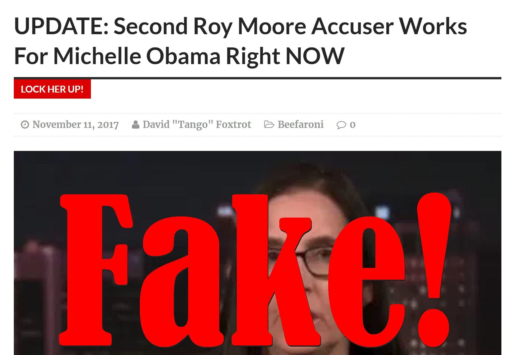 Fake News: Second Roy Moore Accuser NOT Working For Michelle Obama