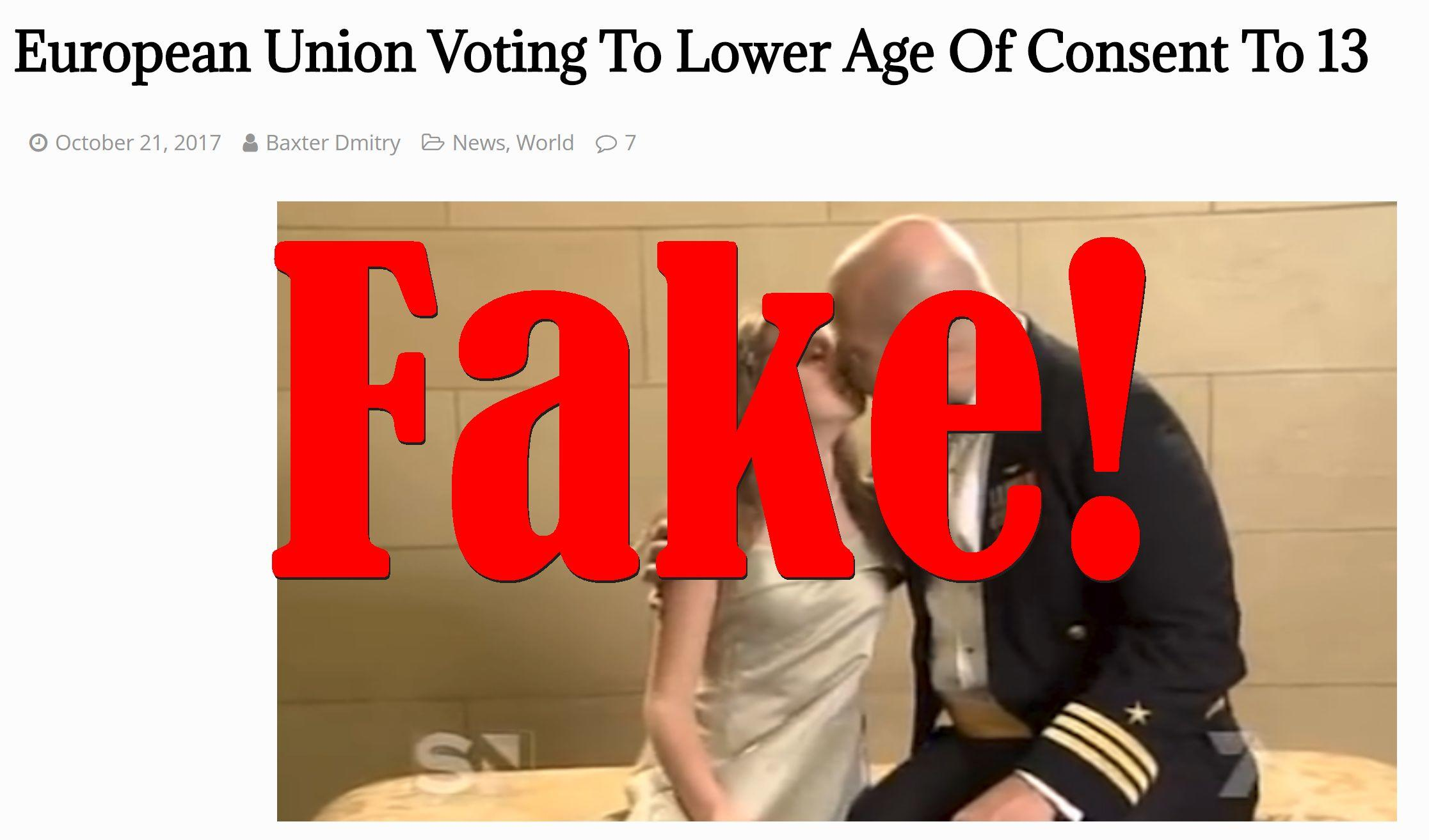 Fake News: European Union NOT Voting To Lower Age Of Consent To 13