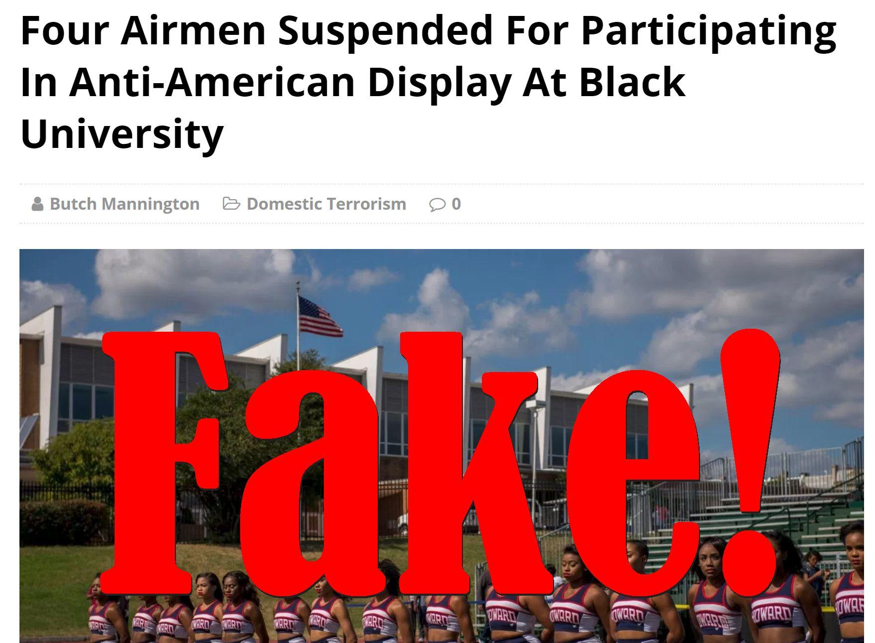 Fake News: Four Airmen NOT Suspended For Participating In Anti-American Display At Black University