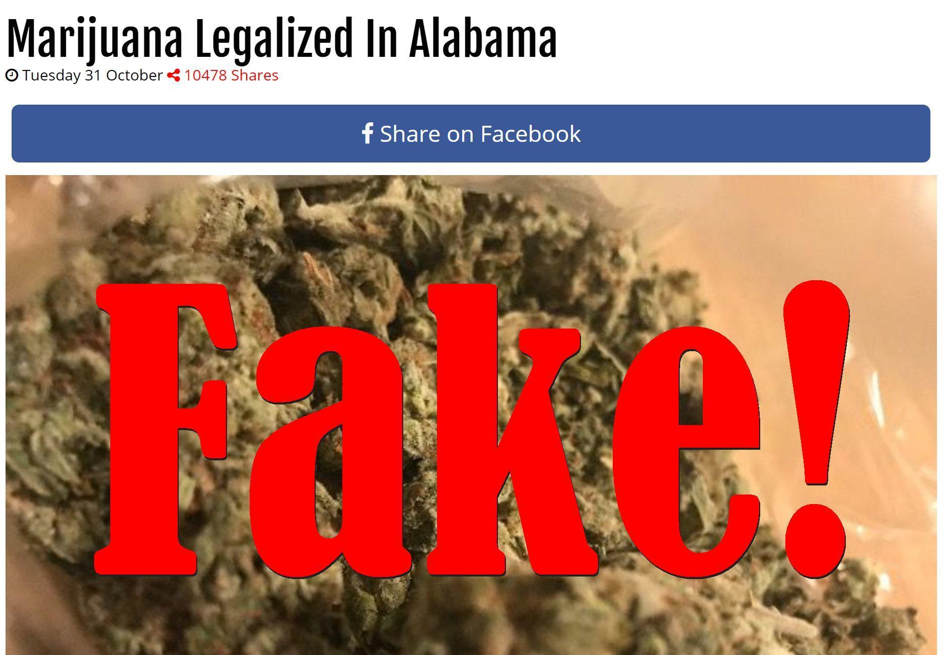 Fake News: Marijuana NOT Legalized In Alabama Either