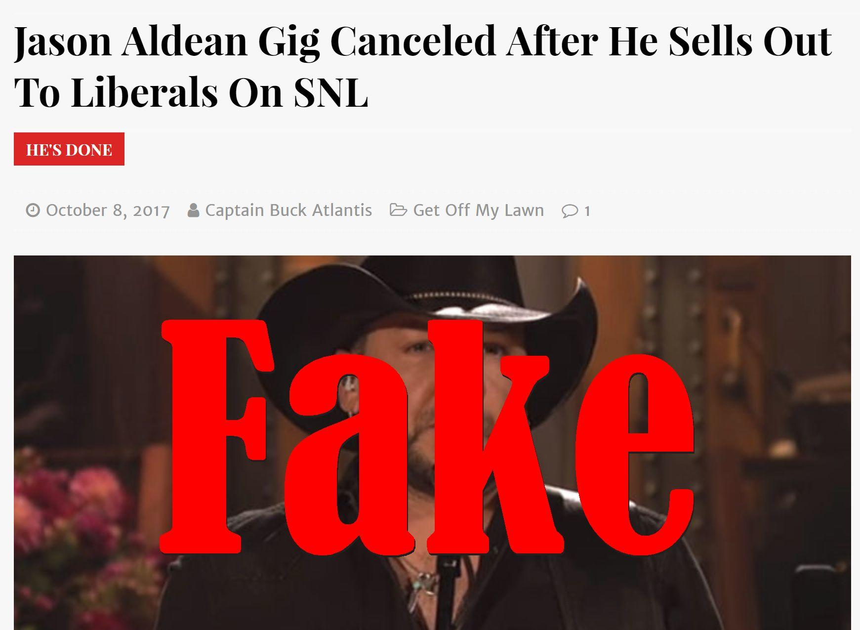 Fake News: Jason Aldean Gig NOT Canceled After He Sells Out To Liberals On SNL
