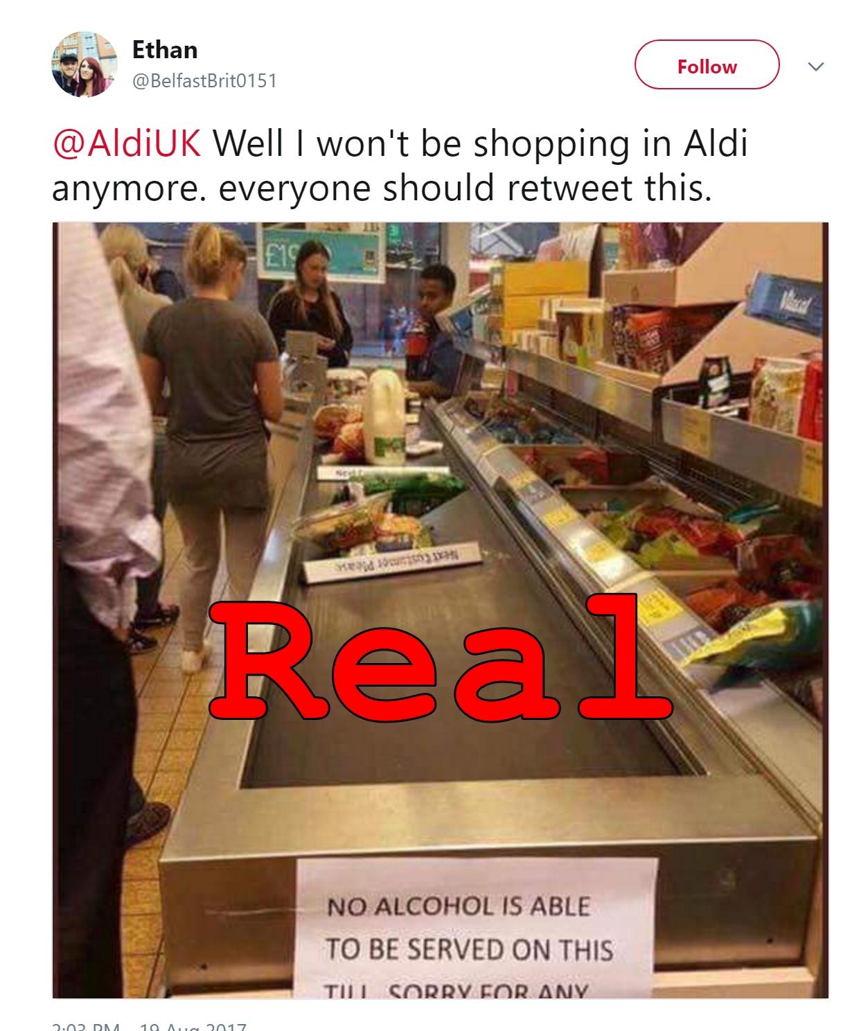 Fact Check: Aldi Cashier Refusing To Ring Up Alcohol