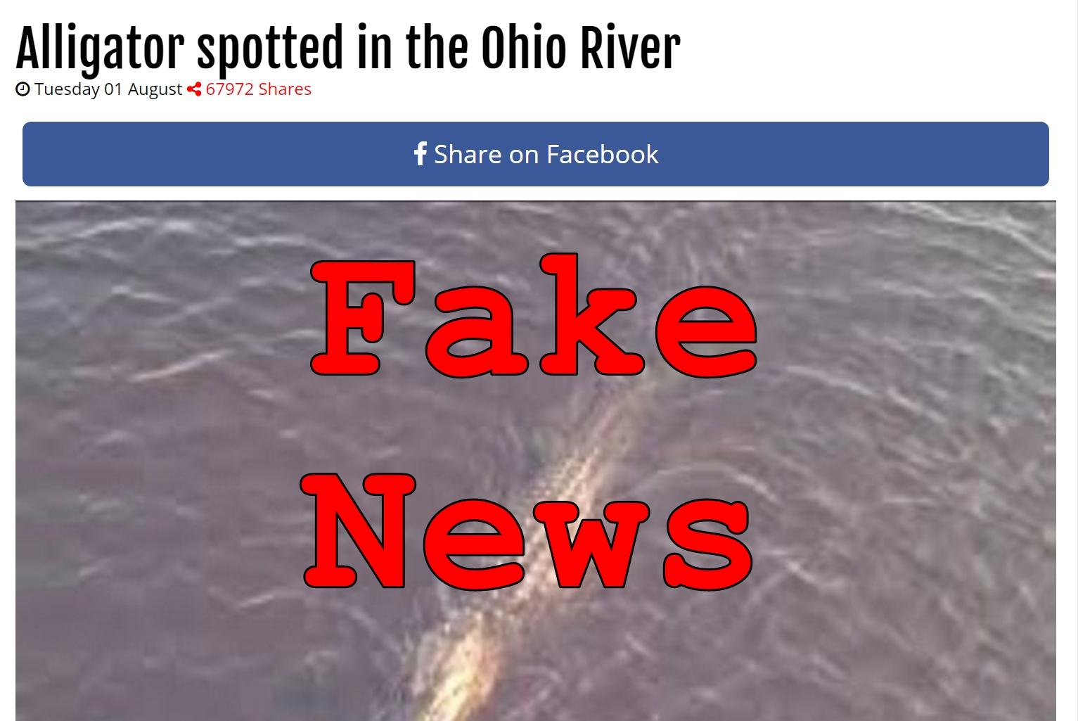 Fake News: NO Alligator Spotted In The Ohio River