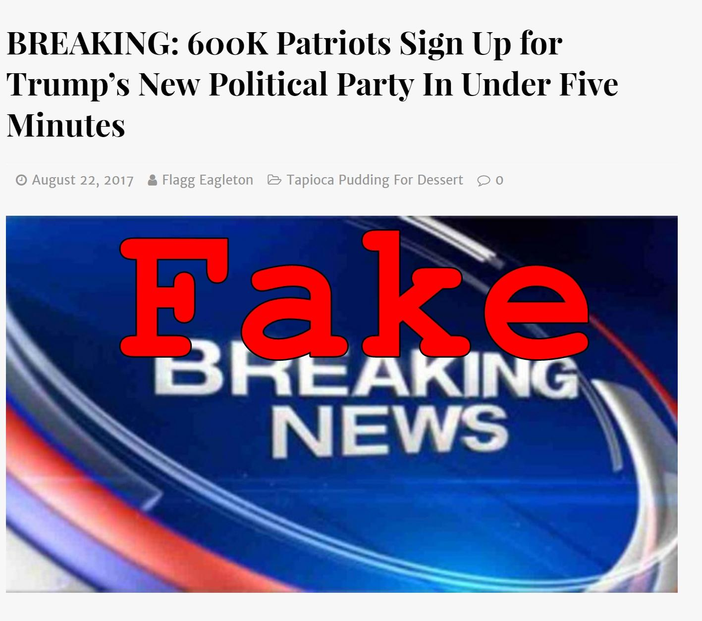 Fake News: Trump Is NOT Launching A New Political Party For The 2020 Election