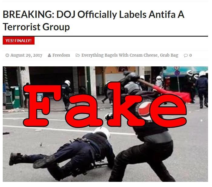 Fake News: DOJ Did NOT Officially Label Antifa A Terrorist Group