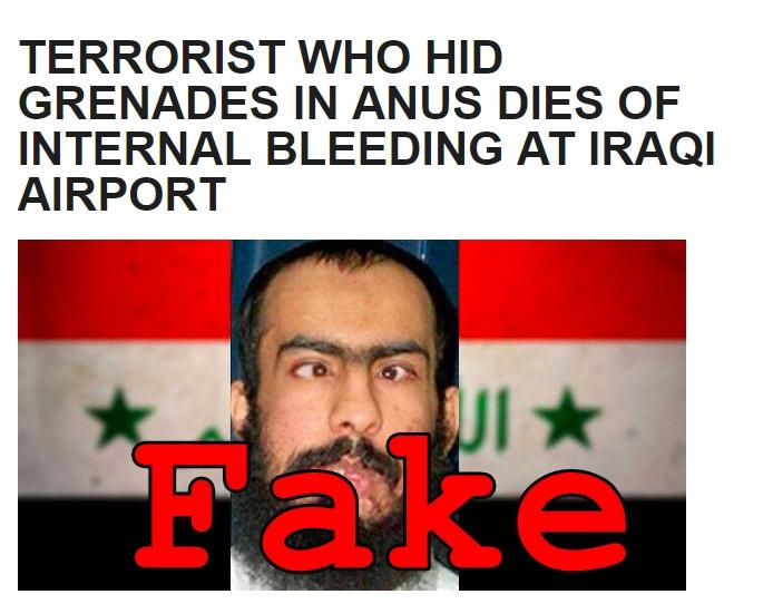 Fake News: Terrorist Who Hid Grenades in Anus Did NOT Die of Internal Bleeding at Iraqi Airport