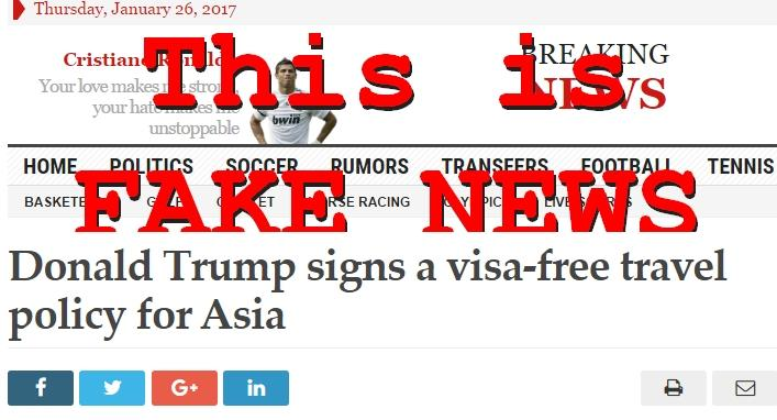 Fake News: Donald Trump DID NOT Sign A Visa-free Travel Policy For Asia