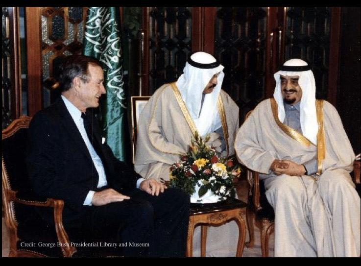 Bush meets with Saudi Arabian King Fahd in Riyadh.jpg