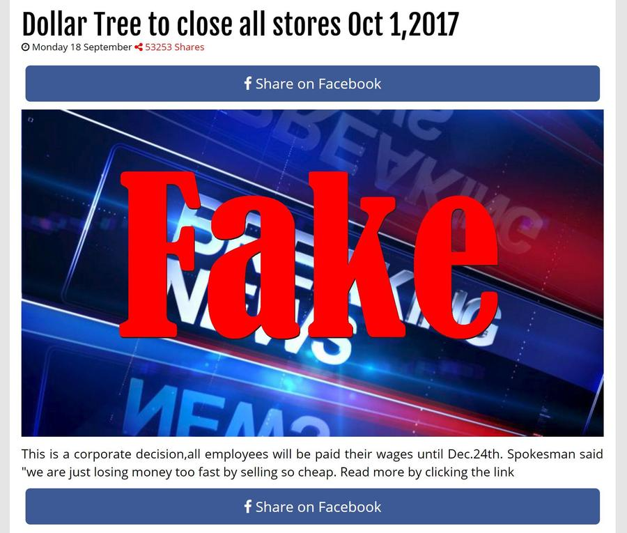 Fake News: Dollar Tree NOT To Close All Stores By October