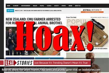 Fake News: New Zealand Emu farmer NOT Arrested For Running Illegal Animal Brothel