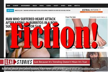 Fake News: Man Did NOT Suffer Heart Attack After Eating 21 Burritos, Did NOT Sue Taco Bell for $4M