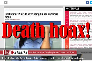 Fake News: Girl Did NOT Commit Suicide After Being Bullied on Social Media