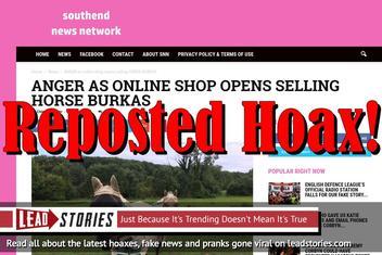 Fake News: Online Shop NOT Selling Horse Burkas