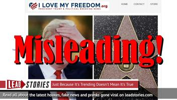 Fake News: SHOWDOWN TONIGHT: Los Angeles City Council May NOT Vote To REMOVE Trump's Walk Of Fame Star