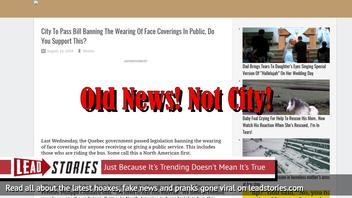 """Old News: """"City"""" NOT To Pass Bill Banning The Wearing Of Face Coverings In Public"""
