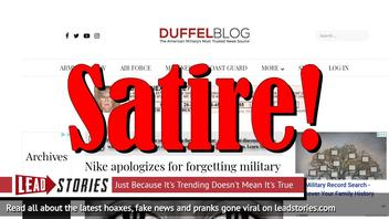 Fake News: Nike Did NOT Apologize For Forgetting Military Monopoly on Sacrifice