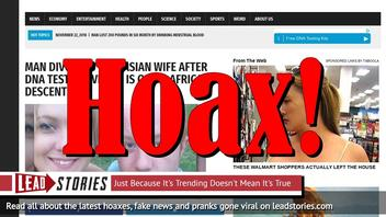 Fake News: Man Did NOT Divorce Caucasian Wife After DNA Test Proves He Is Of 9% African descent