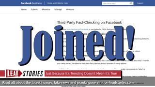 Lead Stories Joins Facebook's Third Party Fact Checking Partnership
