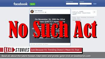Fake News: McCarran Warner Act of 1952 Did NOT Forbid Muslims From Holding Office