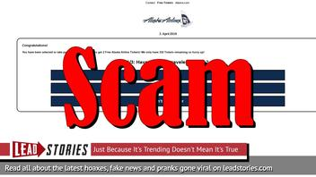 Fake News: Alaska Airline is NOT Celebrating Their 87th Anniversary by Gifting 2 Free Tickets to Everyone