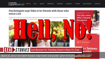 Fake News: Psychologists Do NOT Urge Folks To Be Friends With Those Who Swear A Lot