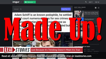 Fake News: Adam Schiff Is NOT A Known Pedophile Who Settled Out Of Court Numerous Times For Sex Crimes
