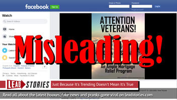 Fake Ad: Congress Does NOT Give Veteran Homeowners A Generous Mortgage Relief Program