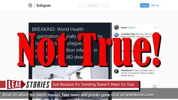 Fake News: World Health Organization Did NOT Officially Declare Coronavirus A Plague; 950,680 Are NOT Dead