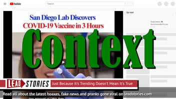 Fact Check: San Diego Lab Says It Has Created Coronavirus Vaccine In Three Hours