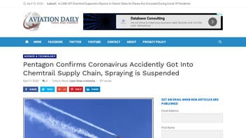 Fact Check: Pentagon Did NOT Confirm Coronavirus Accidentally Got Into Chemtrail Supply Chain